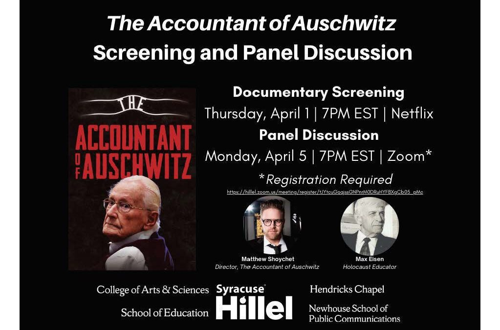 """Syracuse Hillel: """"The Accountant of Auschwitz"""""""