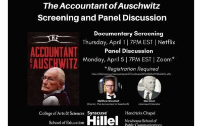 "Syracuse Hillel: ""The Accountant of Auschwitz"""